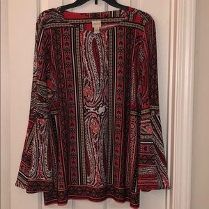 Chico's Size 3 Blouse Red Multi. NWOT
